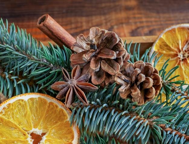 Mooie close-uptakken van sparren, droge sinaasappels, kaneelstokjes en steranijs