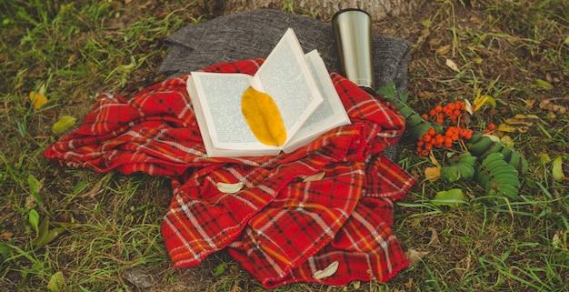 Mooie compositie met kopje thee en oud boek. regenachtige dag, zomer- of herfstseizoen. vintage-stijl.