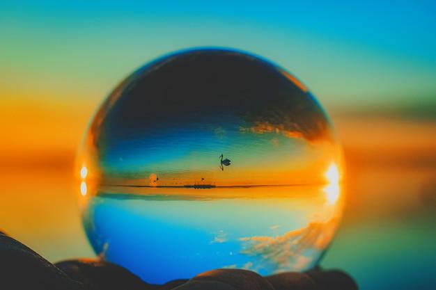 Mooie creatieve lensbalfotografie van een zwemmende kraan in de zee Gratis Foto