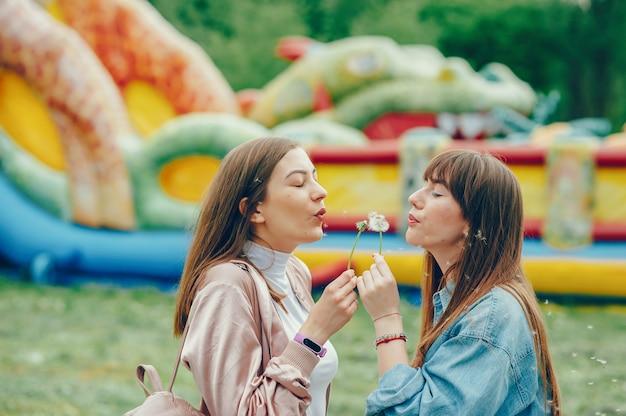 Mooie dames die in het park rusten en met paardebloem spelen.
