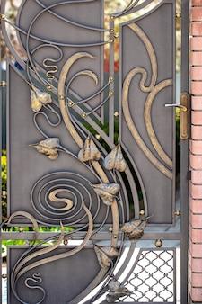 Mooie decoratieve metalen elementen gesmeed smeedijzeren poorten.