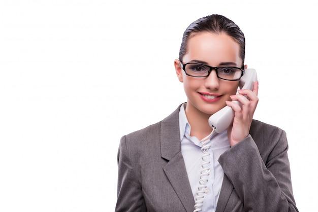 Mooie elegante call center operator geïsoleerd op wit