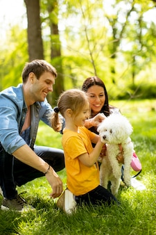 Mooie en gelukkige familie heeft plezier met bichon hond buiten in het park