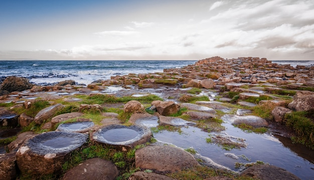 Mooie en vreemde rotsen op het strand met de weerspiegeling van de lucht op de rotsen