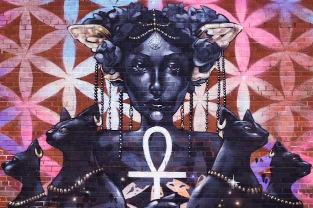 Mooie foto van straatkunst op een muur in de stad birmingham in het vk