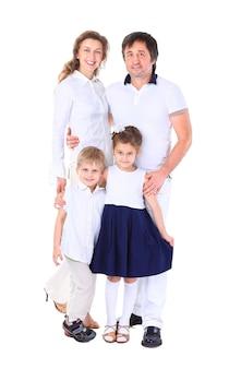 Mooie gelukkige familie - geïsoleerd op een witte achtergrond