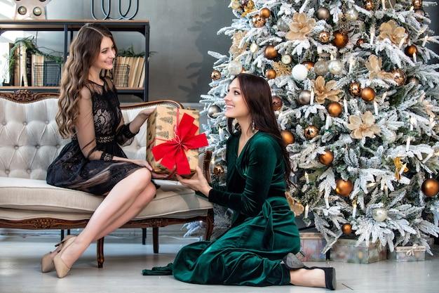 Mooie gelukkige jonge twee vrouwen op hun gezichten communiceren op de achtergrond van kerstmis