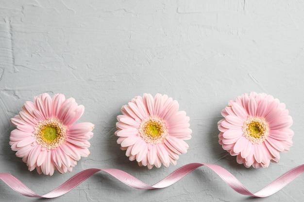 Mooie gerberabloemen op grijze achtergrond, ruimte voor tekst