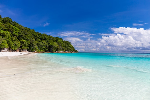 Mooie glasheldere zee en wit zandstrand bij tachai-eiland, andaman, thailand