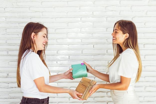 Mooie glimlachende vrouwen die vriendschapsdag met giften vieren