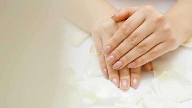 Mooie handen met manicure en witte rozenblaadjes