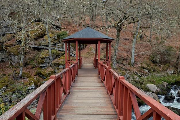 Mooie houten brug over de rivier de arenteiro in een bos in galicië, spanje.