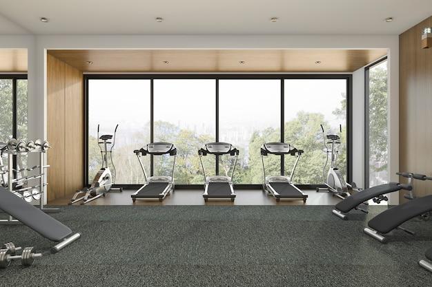 Mooie houten gym met bomen en trainingsruimte