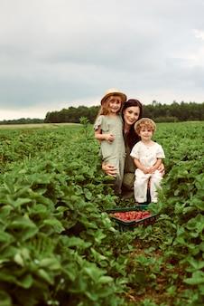 Mooie jonge blanke moeder met haar kinderen in een linnen jurk met een mandje aardbeien verzamelt een nieuwe oogst en heeft plezier met de kinderen