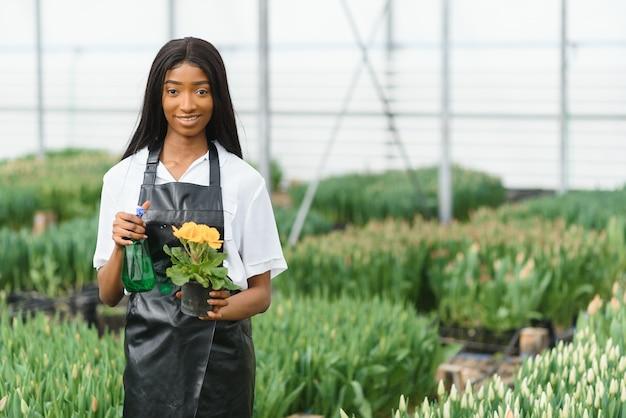 Mooie jonge lachende afro-amerikaanse meisje, werknemer met bloemen in kas.