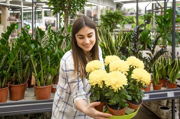 Mooie jonge vrouw in een bloemenwinkel en bloemen kiezen. het concept van tuinieren en bloemen.