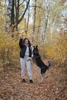 Mooie jonge vrouw loopt met een siberische husky hond in een prachtig herfstpark met geel gebladerte