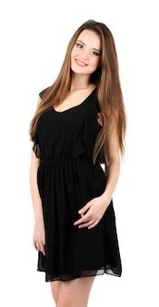 Mooie jonge vrouw met lang haar dat op wit wordt geïsoleerd