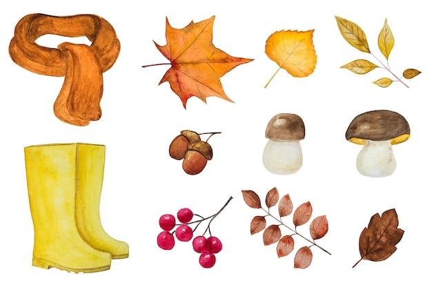 Mooie kaart met diverse tekeningen over het herfstthema, beschilderd met aquarellen. close-up, weergave van bovenaf
