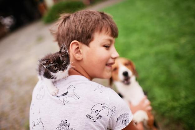 Mooie kleine kat zit op de schouder van de jongen
