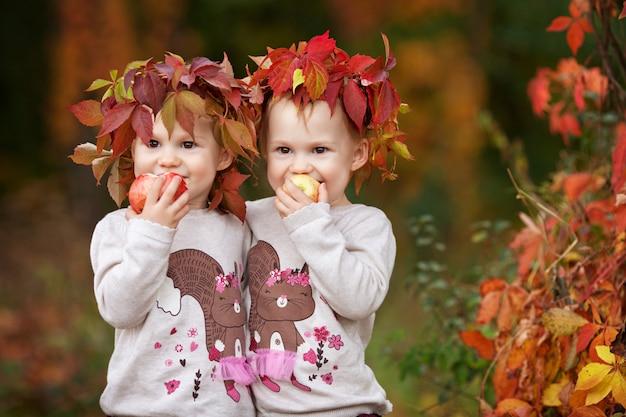 Mooie kleine tweelingmeisjes die appelen in de de herfsttuin houden.