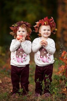 Mooie kleine tweelingmeisjes met appels in de herfsttuin kleine meisjes die met appels spelen