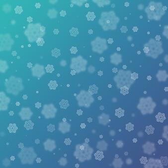 Mooie krullende bokeh van getekende sneeuwvlokken op een blauwe achtergrond met kleurovergang. concept gelukkig kerstmis en nieuwjaar. kan worden gebruikt als ansichtkaart, achtergrond, textiel