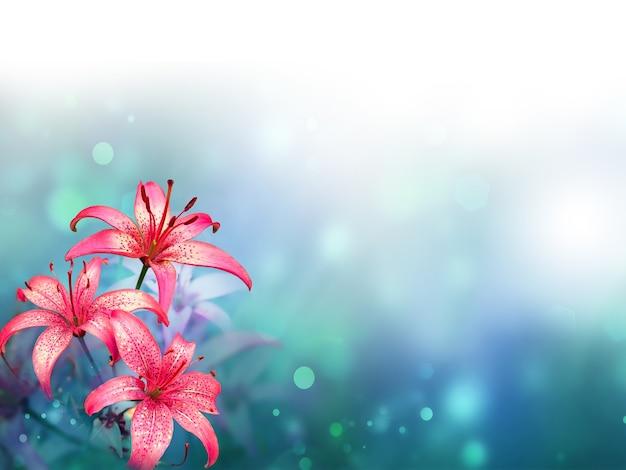 Mooie lelies op een onscherpe achtergrond