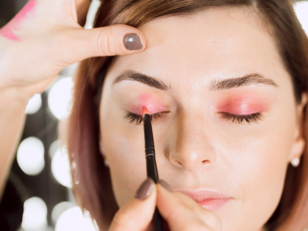 Mooie make-up op model dicht omhoog