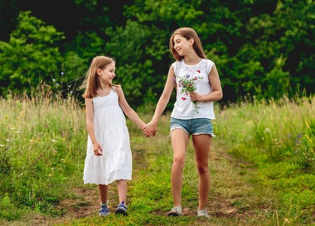 Mooie meisjes lopen op zomer weide