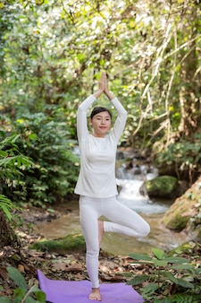 Mooie meisjes spelen yoga in het park