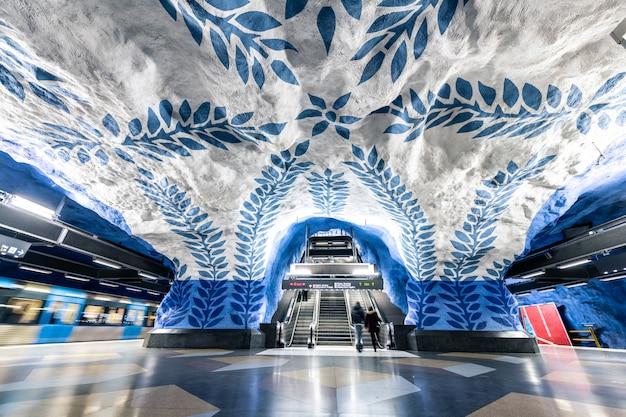 Mooie metrostations in stockholm, zweden