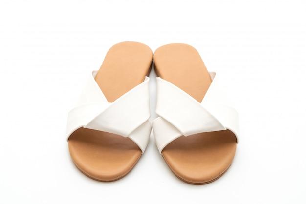 Mooie mode vrouwelijke en vrouw lederen sandalen