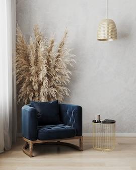 Mooie moderne kamer met een comfortabele fauteuil