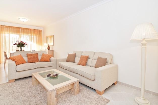 Mooie moderne woonkamer met warme kleuren. met de schaduw.