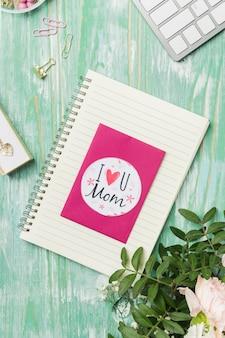 Mooie moederdag kaart plat lag