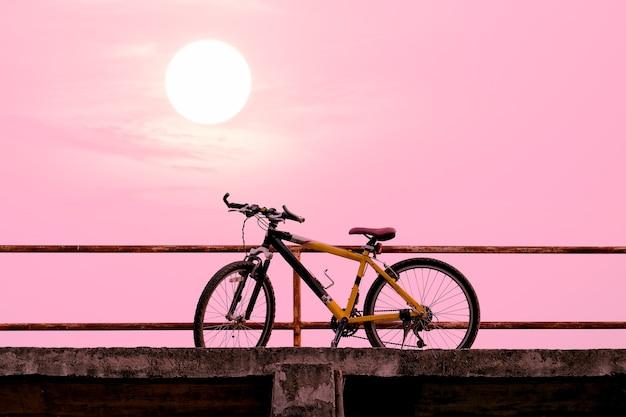 Mooie mountainbike op betonnen brug met kleurrijk zonlicht.