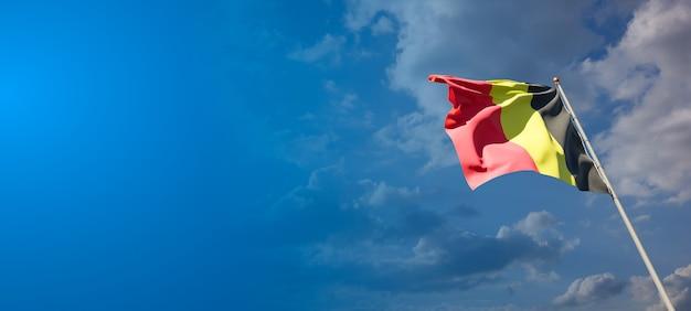 Mooie nationale vlag van belgië met lege ruimte. vlag van belgië met plaats voor tekst 3d-illustraties.