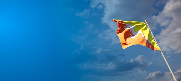Mooie nationale vlag van bhutan met lege ruimte. vlag van bhutan met plaats voor tekst 3d-illustraties.