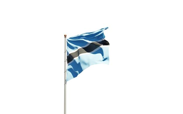 Mooie nationale vlag van botswana op witte achtergrond.