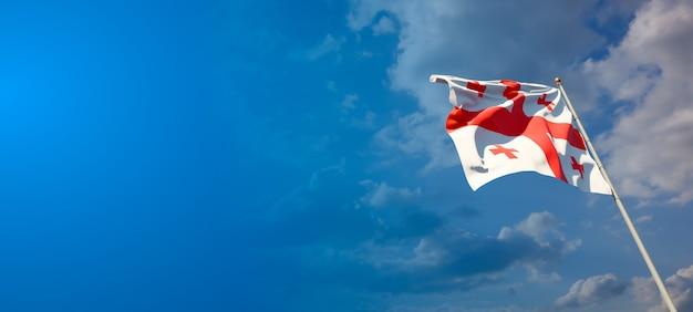 Mooie nationale vlag van georgië met lege ruimte op brede achtergrond