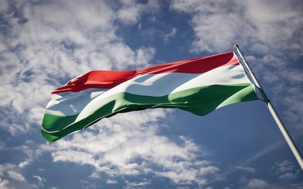 Mooie nationale vlag van hongarije wapperen