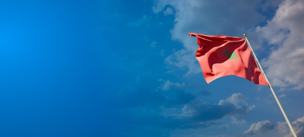 Mooie nationale vlag van marokko met lege ruimte op brede achtergrond