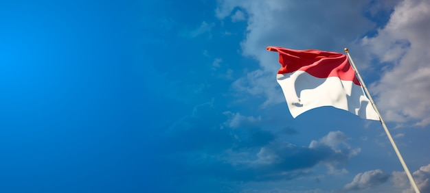 Mooie nationale vlag van monaco met lege ruimte op brede achtergrond