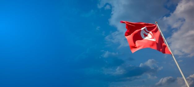 Mooie nationale vlag van tunesië op blauwe hemel