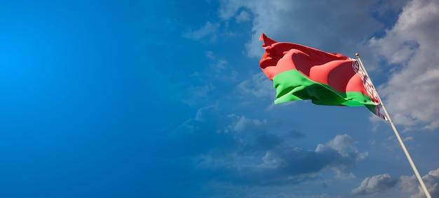 Mooie nationale vlag van wit-rusland met lege ruimte. vlag van wit-rusland met plaats voor tekst 3d-illustraties.