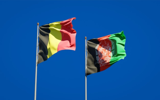 Mooie nationale vlaggen van afghanistan en belgië