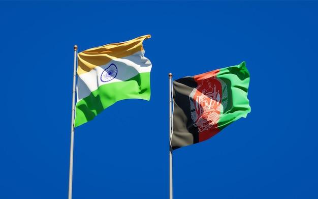 Mooie nationale vlaggen van afghanistan en india