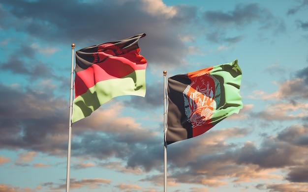 Mooie nationale vlaggen van afghanistan en malawi