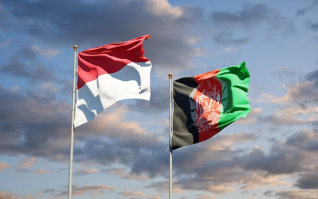 Mooie nationale vlaggen van afghanistan en monaco